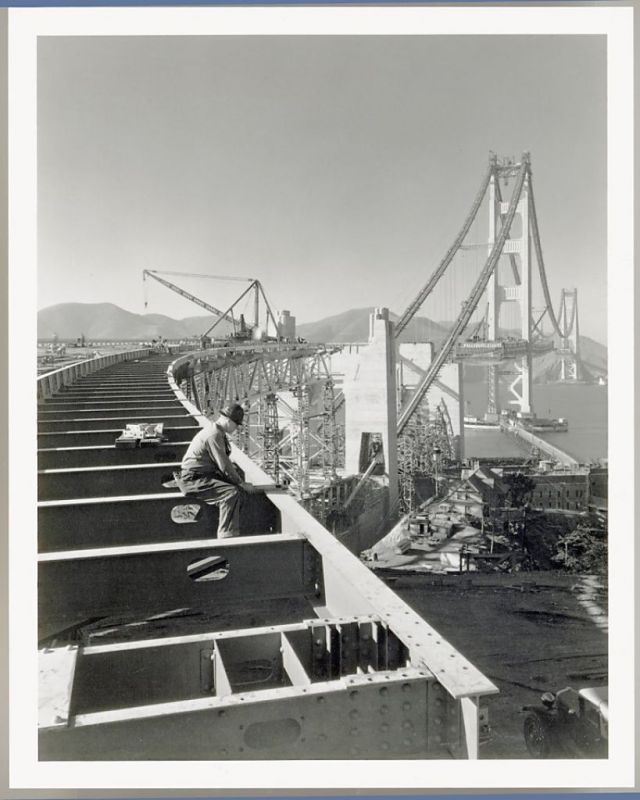 The Golden Gate Bridge under construction
