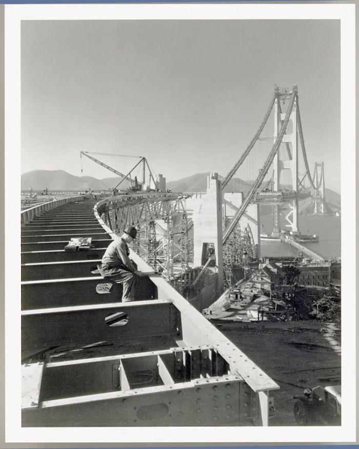 The Golden Gate Bridge under construction