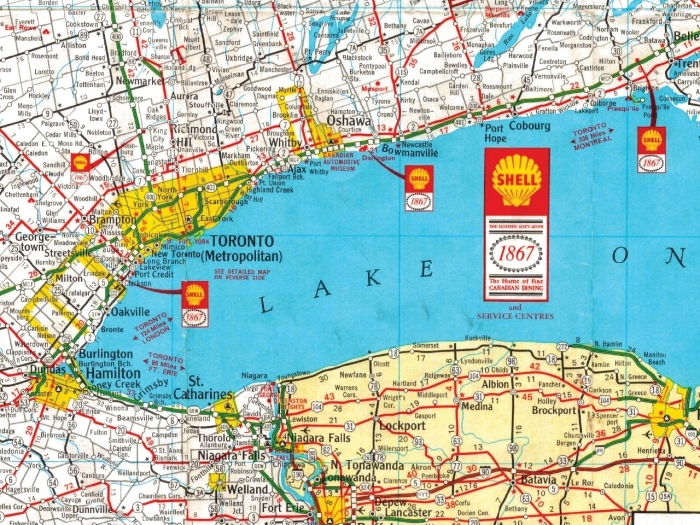 A 1968 map of Ontario sponsored by Shell. Image: University of Toronto's Map and Data Library