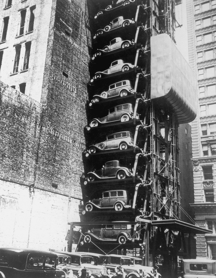 An elevator parking lot, where the cars are hoisted up on individual platforms to save space, early 1920s. (Photo by FPG/Hulton Archive/Getty Images)