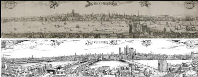 Claes Jansz Visscher's 1616 panorama of London. (London Metropolitan Archives) and Robin Reynolds's 2016 panorama of London. (Robin Reynolds)