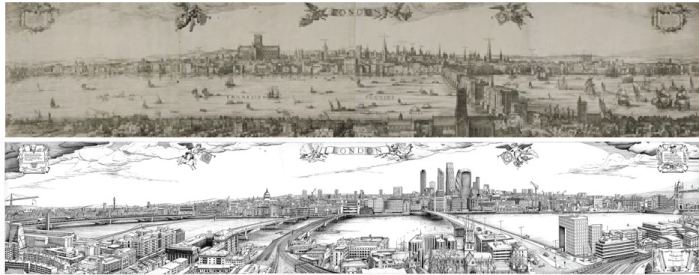 Claes Jansz Visscher's 1616 panorama of London. (London Metropolitan Archives) and Robin Reynolds's 2016 panorama of London. (Robin Reynolds)