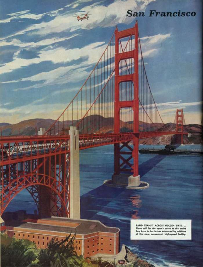 A 1961 General Electric ad shows the possibility of a lower deck on the Golden Gate Bridge. Photo: Eric Fischer Https://www.flickr.com/photos/walkingsf/